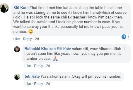 Facebook user offers Baihakki Khaizan his teacher's phone number.