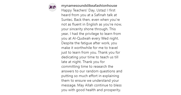 Teachers' Day Message for Ustaz Ahmad Faritz who taught student at Safinah Institute and Al Qudwah Academy