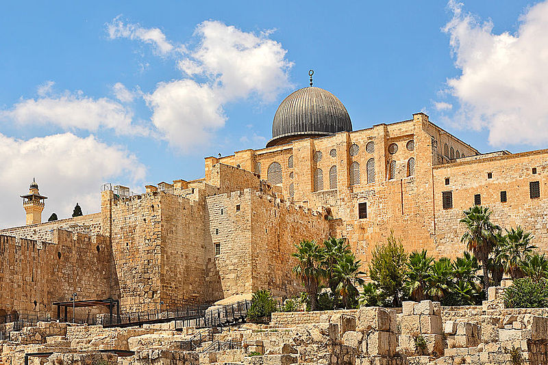 Dome of Al-Aqsa Mosque in Old City of Jerusalem, Israel.