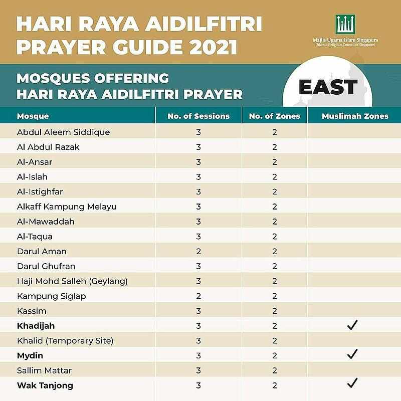 Hari Raya prayer booking Singapore