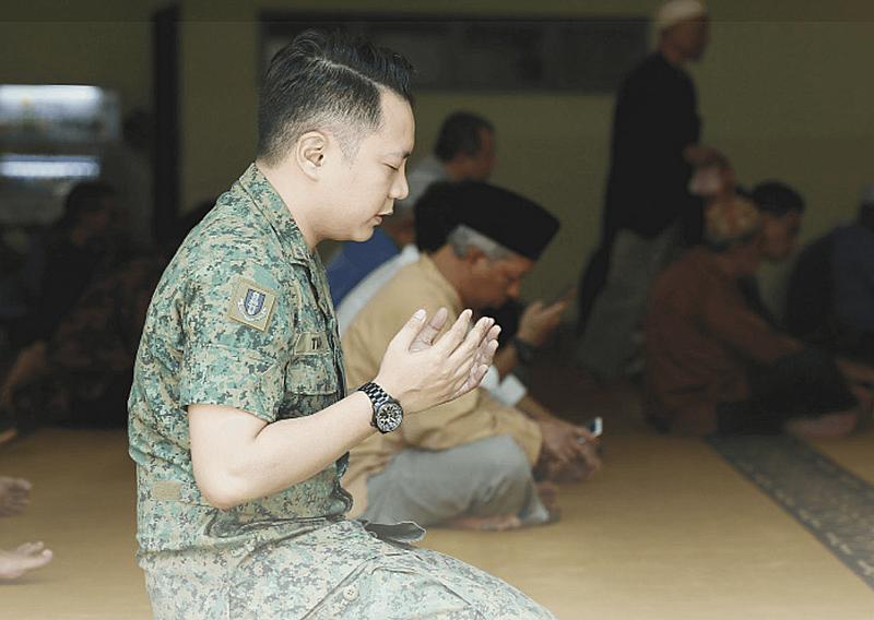 Singapore Muslim soldier national service uniform